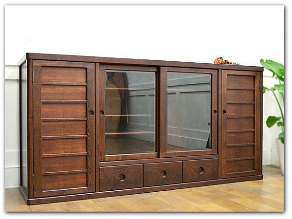 和モダン 木製サイドボード 本棚 食器棚