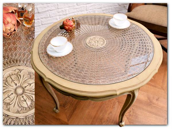 フレンチクラシック アンティーク白テーブル