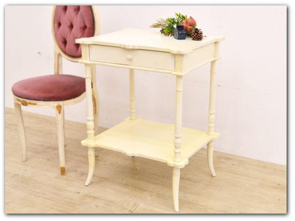 フレンチクラシック アンティーク 木製サイドテーブル
