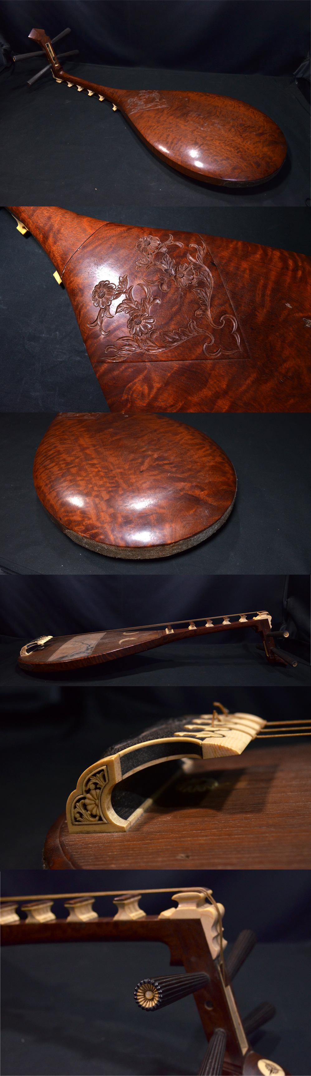 時代物 緻密彫刻象牙越前琵琶四弦