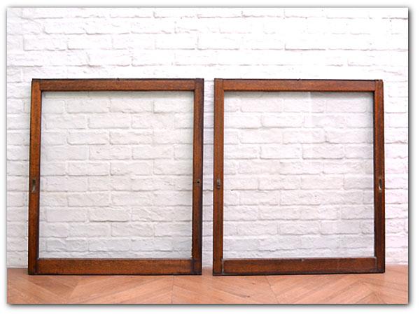 年代物 古い木製揺れガラス引き戸