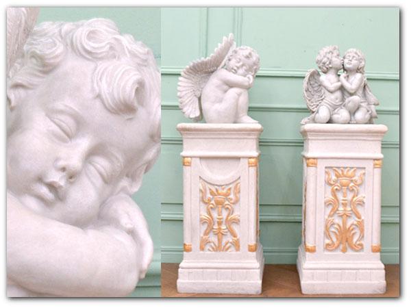 ロココ様式 樹脂製天使オブジェ一対