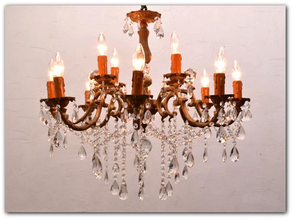 真鍮製アンティーク12灯シャンデリア