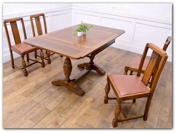 英国アンティークドローリーフテーブル&チェア4脚セット