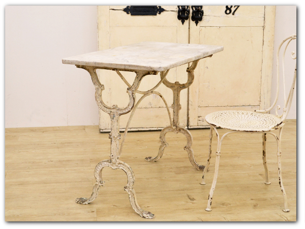 フランスアンティークシャビー大理石天板テーブル