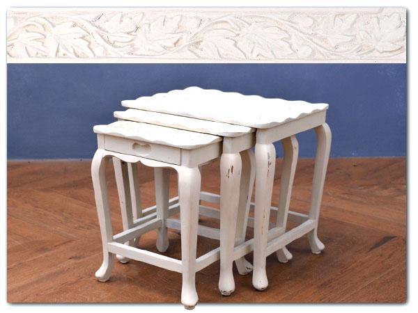 リメイクペイント 木彫ネストテーブル