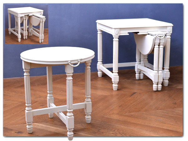 リメイクペイント 木製テーブル3点セット