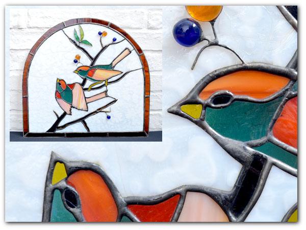 アールデコ 小鳥柄 ステンドグラス
