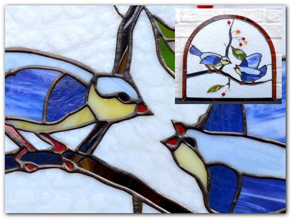 アールデコ 小鳥2羽 ステンドグラス