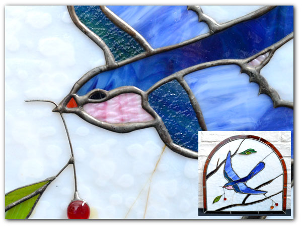 アールデコ 青い小鳥 ステンドグラス