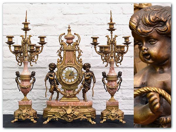 イタリア製 大理石置時計&キャンドルスタンド3点セット