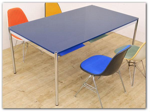 ハラーシステム ガラステーブル スティールブルー