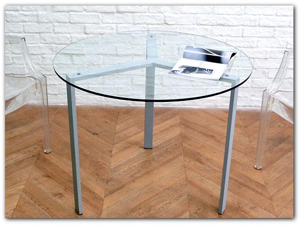 モダン ラウンド型ガラステーブル