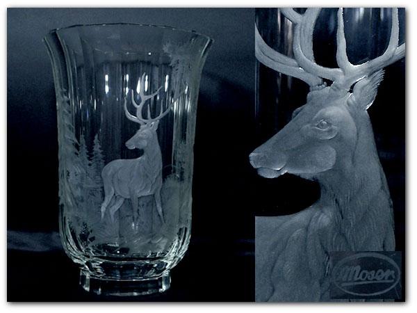 Moser 青ガラス花瓶 鹿図彫刻