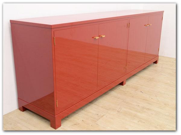 加茂総桐箪笥 現代的意匠 サイドボード型朱漆塗り着物箪笥