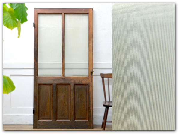 年代物 モールガラス 片開きドア
