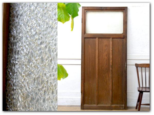 年代物 型板ガラス 片開きドア