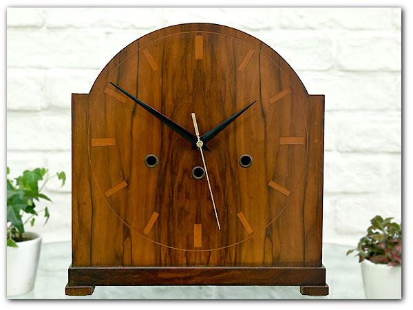 アールデコ様式ローズウッド置き時計