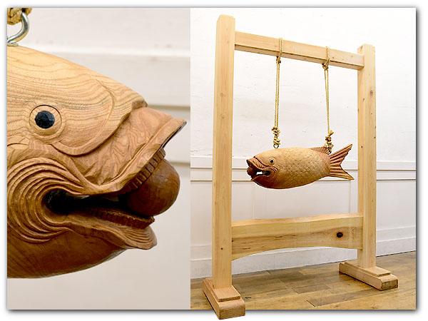 鳴物仏具 鯉木彫魚鼓