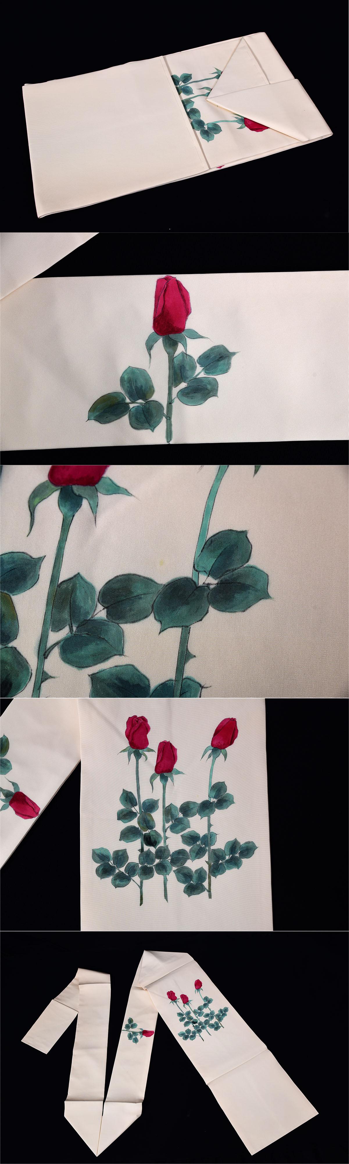 薔薇紋手描き名古屋帯