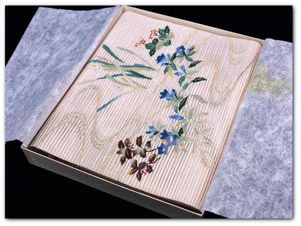夏帯 流水に花紋 絽つづれ なごや帯