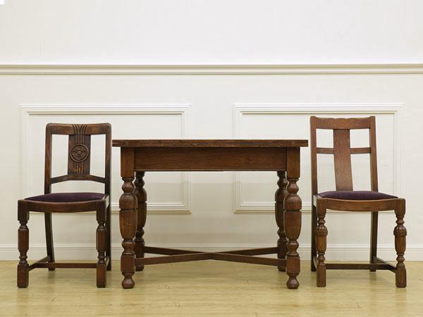 英国アンティーク ターンリーフテーブル& チェア 3点セット