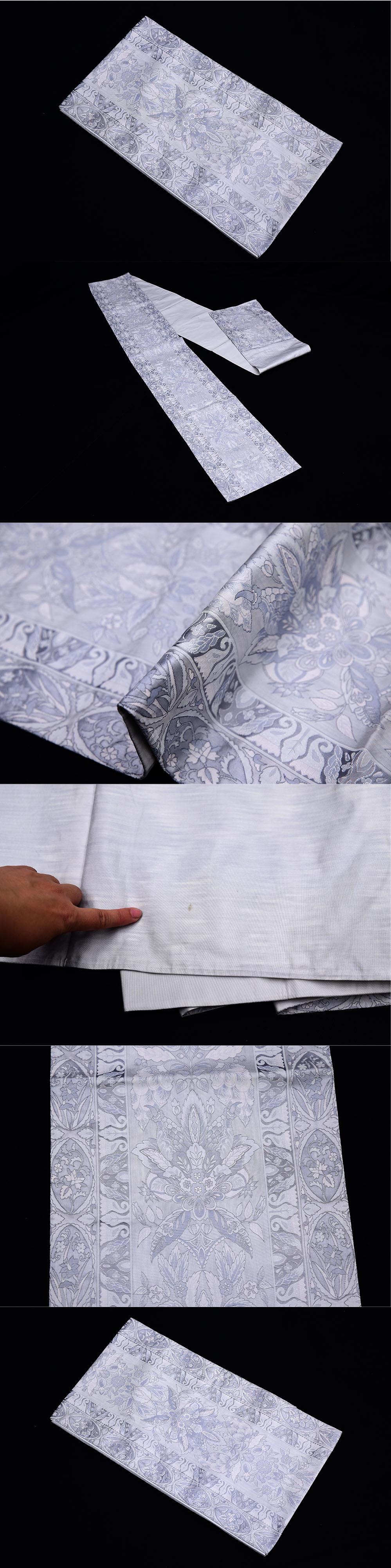 グレー地 洋花紋 袋帯