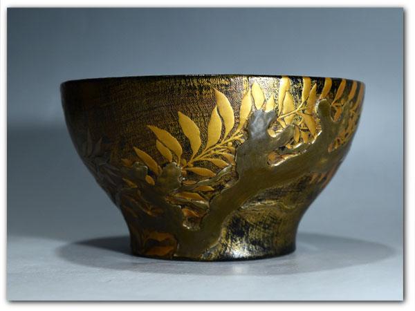 陶器蒔絵茶碗 茶道具