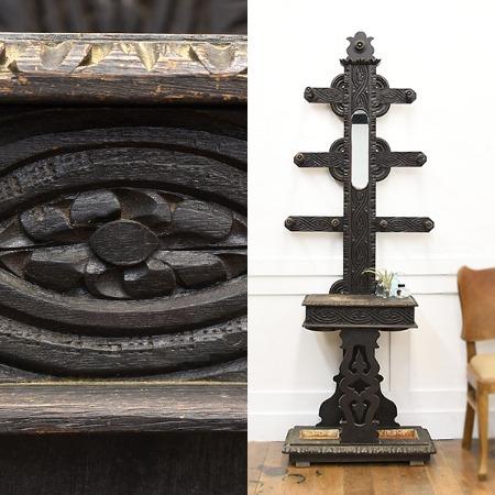 アンティーク 木彫ポーチラック