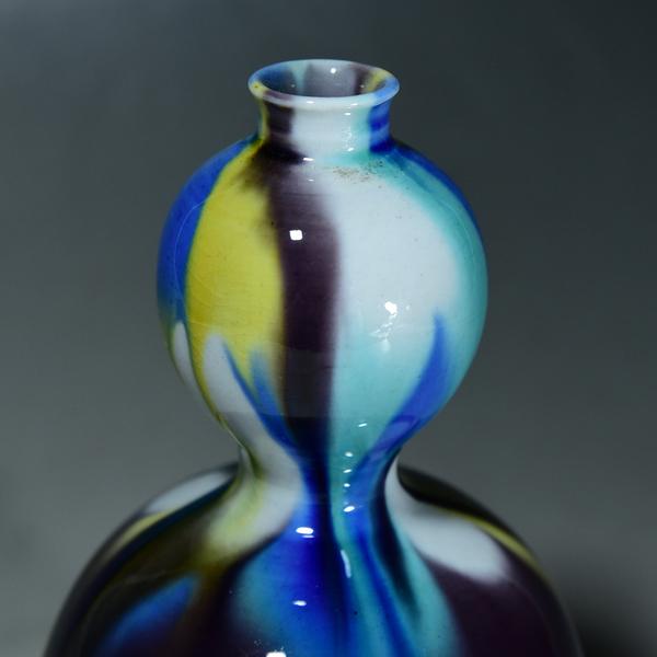 徳田八十吉 九谷瓢箪型彩釉花瓶
