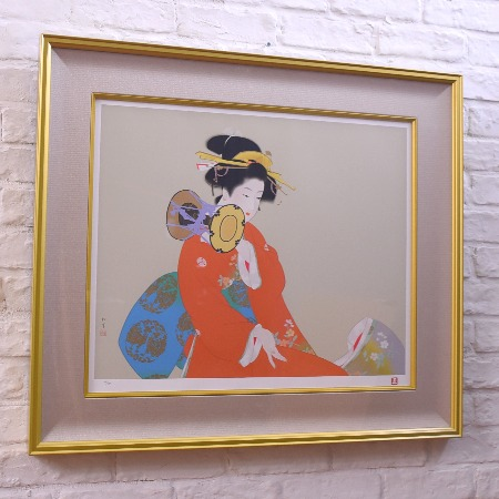 没後五十年記念版画 上村松園「鼓の音」
