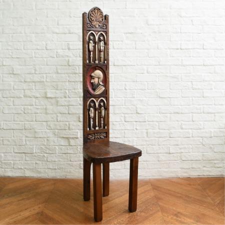 スパニッシュ 木彫刻 ハイバックチェア