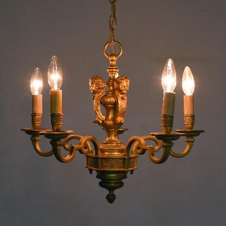 年代物真鍮鋳物シャンデリア