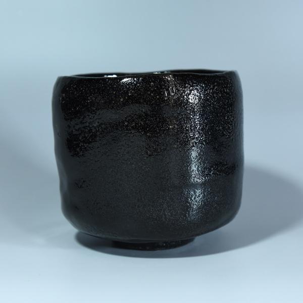 伊東陶山造 黒楽筒茶碗
