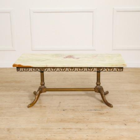 グリーンオニキス大理石 真鍮製 センターテーブル