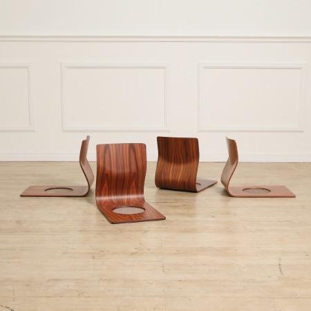 天童木工 Tendo / Japan 藤森 健次 ブラジリアンローズウッド 座椅子4脚セット