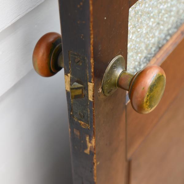 年代物 型板ガラス木格子片開き扉