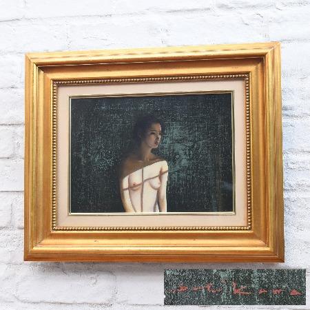 市川元晴「窓辺の裸婦」油彩