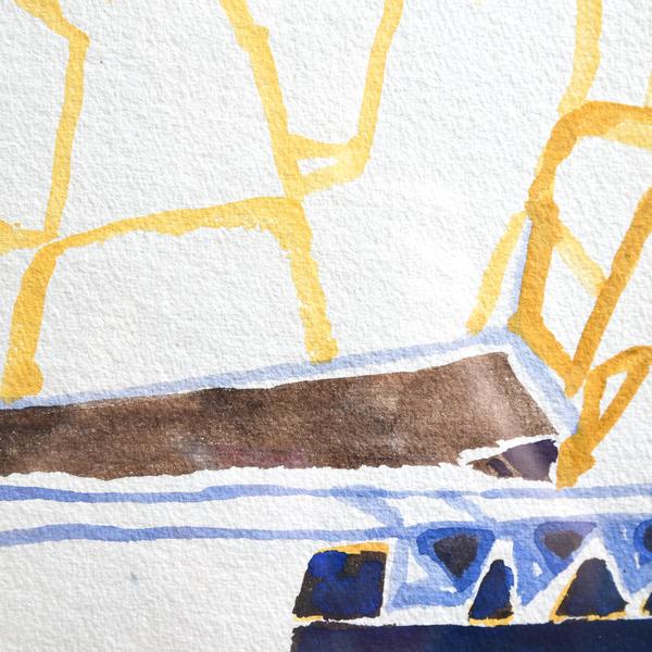 坂倉新平「静かな空気の流れの中で-モナステール」水彩画