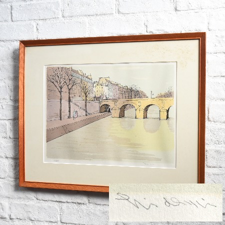 石版画 小林秀美「セーヌ河畔」額