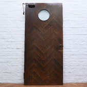 年代物 丸窓付き木製ドア