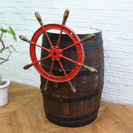 年代物のオーク舵輪樽