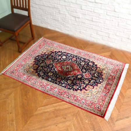 ペルシャ絨毯 手織りシルクxウール