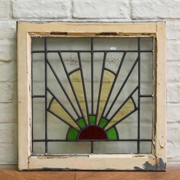 アンティーク アールデコ ステンドグラス2点セット
