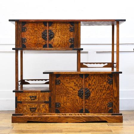 仙台箪笥様式 欅材 茶棚