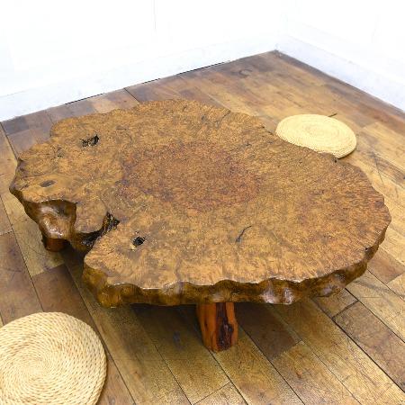 栃材一枚板座卓