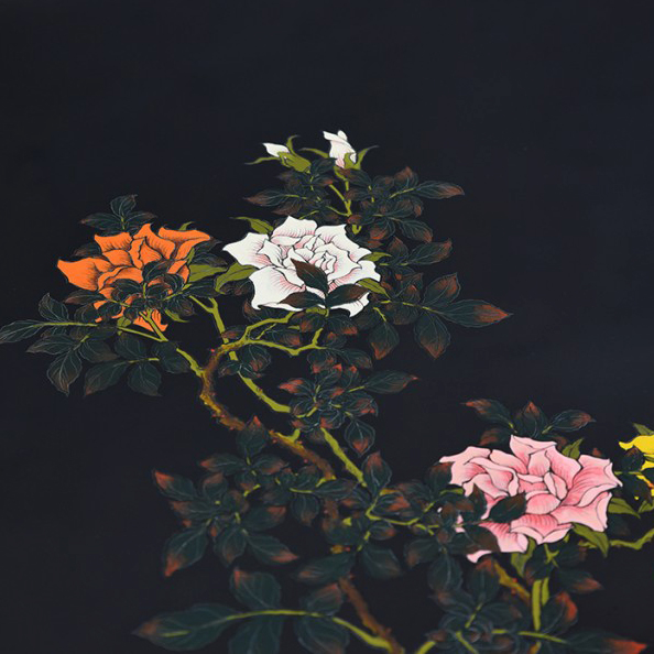 漆塗座卓 賀行作 薔薇図