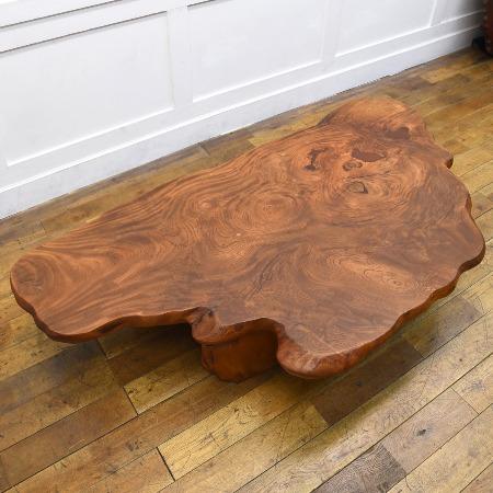 欅無垢材 一枚板 座卓