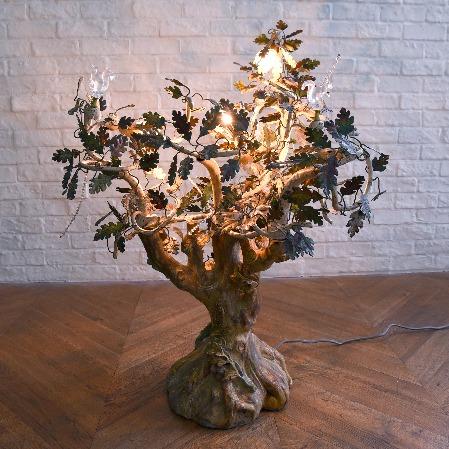クリスタルガラス&アイアン 樹木型スタンドランプ