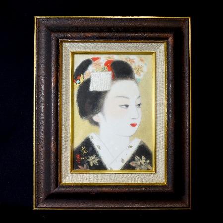 山平義正「舞妓」肉筆日本画
